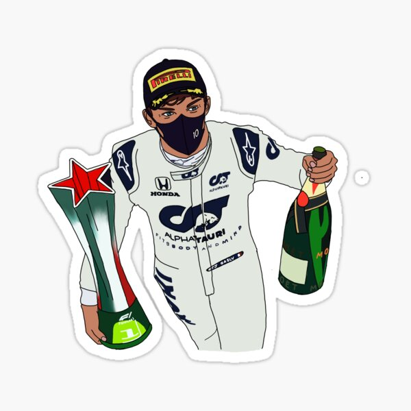 Pierre Gasly- Trophy and Champagne Sticker