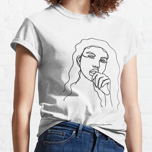Long Hair Feminine minimalist lines Classic T-Shirt