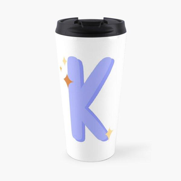 Cute Sparkly Alphabet Monogram Letter K Travel Mug