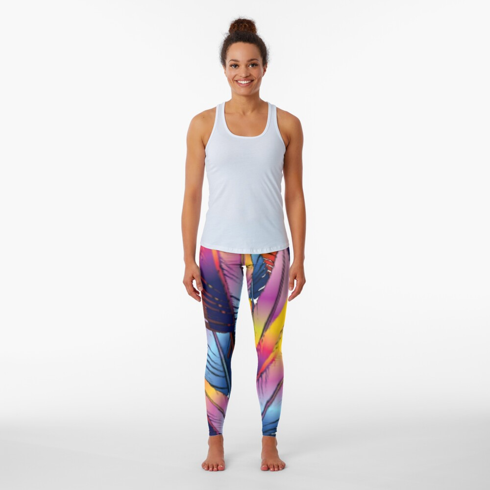 Colorful Feather Leggings