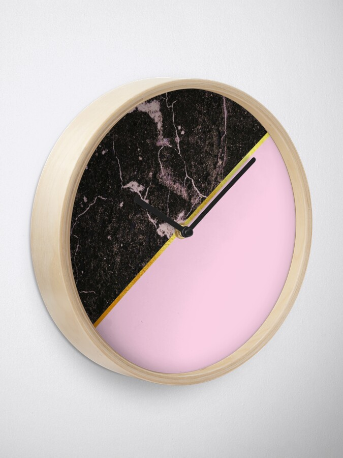 Alternate view of Pink and gold abstract, marble Clock