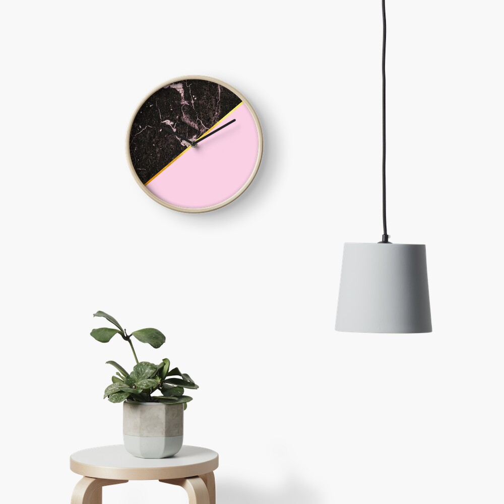 Pink and gold abstract, marble Clock