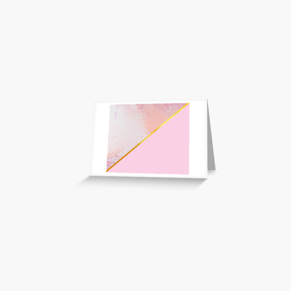 Pink and gold, marble paint Greeting Card
