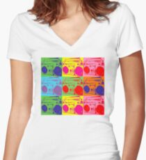 Pop Art Boombox Women's Fitted V-Neck T-Shirt