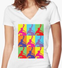 Pop Art Acoustic Bass Player Women's Fitted V-Neck T-Shirt
