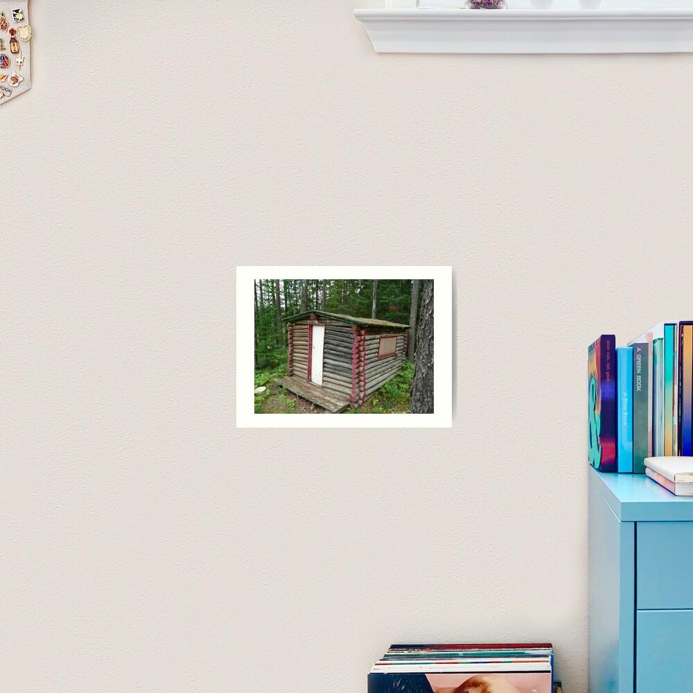 Red cabin with white door Art Print