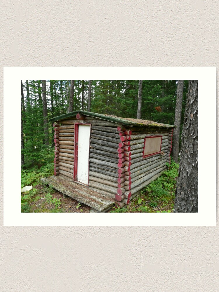 Alternate view of Red cabin with white door Art Print