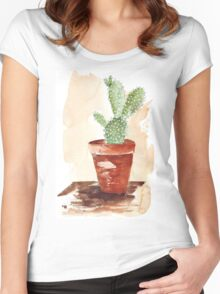 Bunny Ears Cactus (Opuntia microdasys) Women's Fitted Scoop T-Shirt