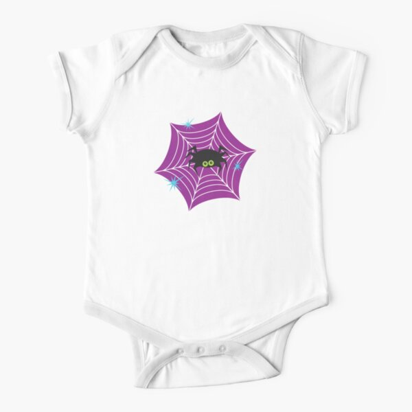Halloween Spider and Web Short Sleeve Baby One-Piece