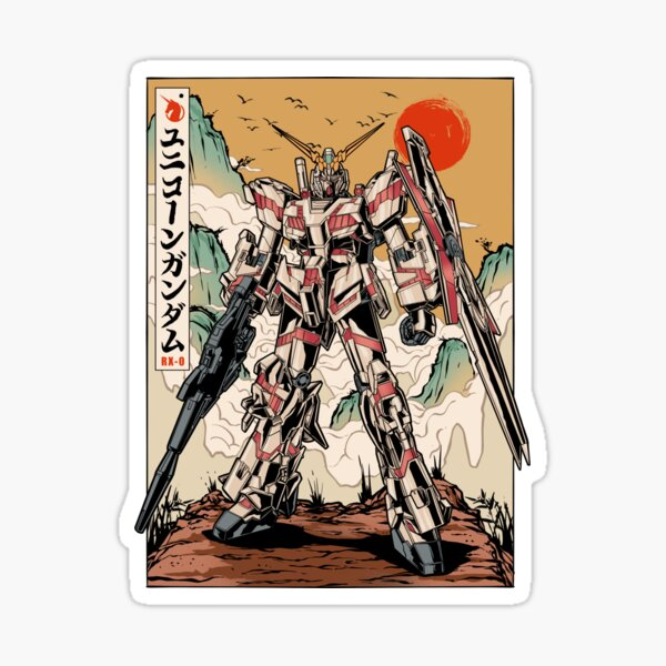 Unicorn Gundam Chinese Style Sticker