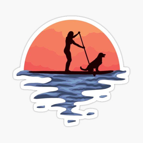 Sunset Stand Up Paddle perro y niña Pegatina