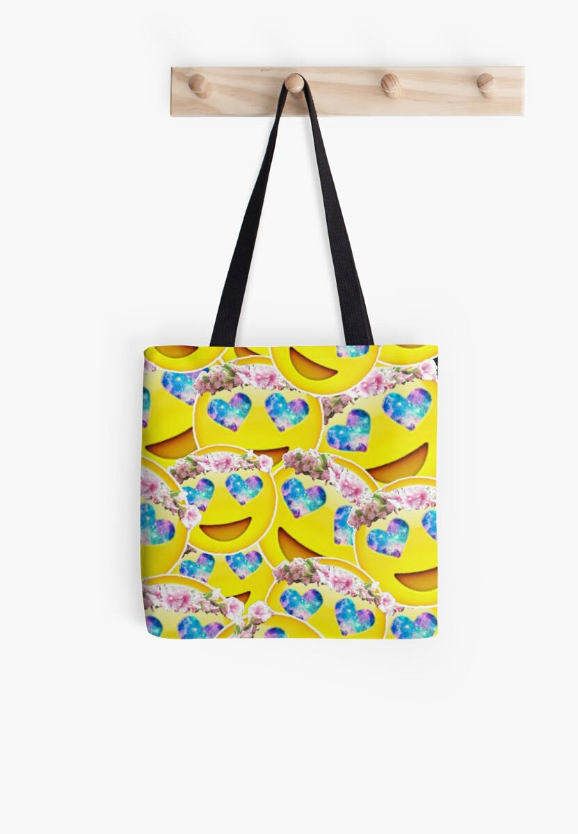 Galaxy Heart Eyes Emoji With Flower Crown Collage Tote Bags By