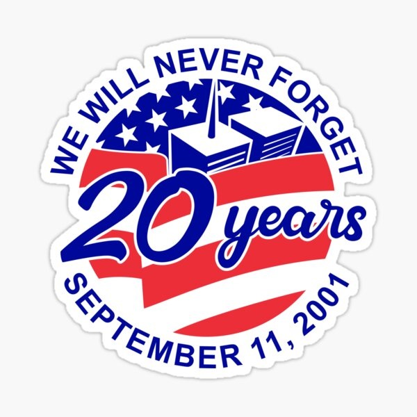9-11 Memorial Patriot Day September 11 2001 20 Years Tribute Circle Retro Color Sticker
