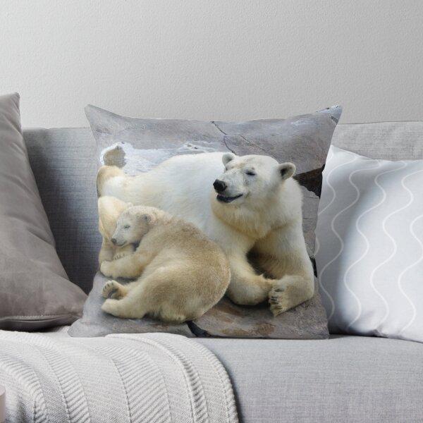 Happy nappy polar bear family Throw Pillow