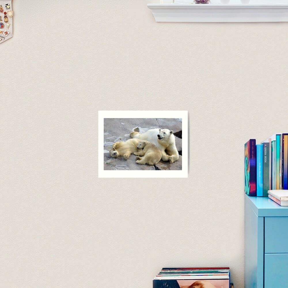 Happy nappy polar bear family Art Print