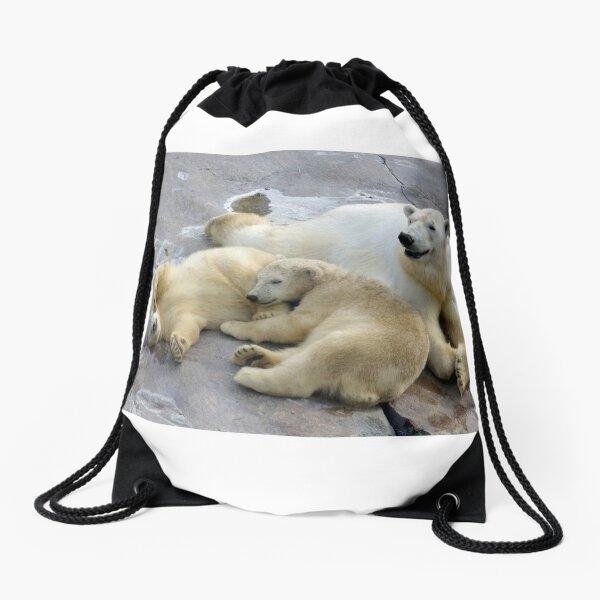 Happy nappy polar bear family Drawstring Bag