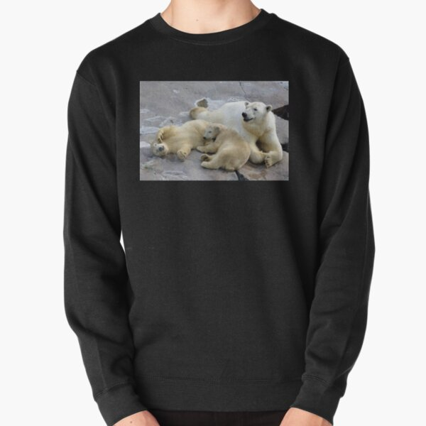 Happy nappy polar bear family Pullover Sweatshirt