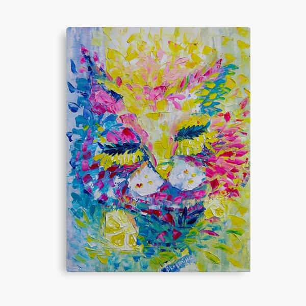 Pink Lemon Cat Painting Original Fine Art by Ekaterina Chernova Canvas Print