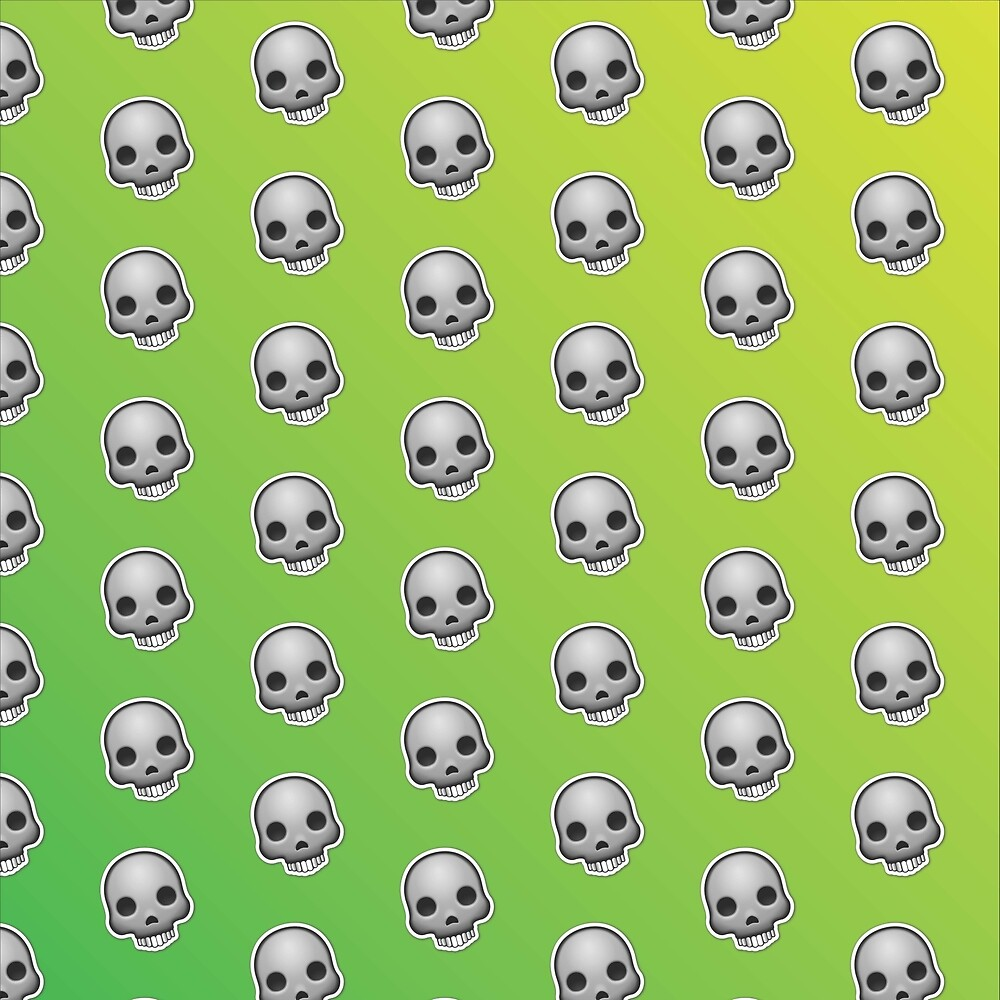 Skull Emoji Pattern Green  by Lucy Lier