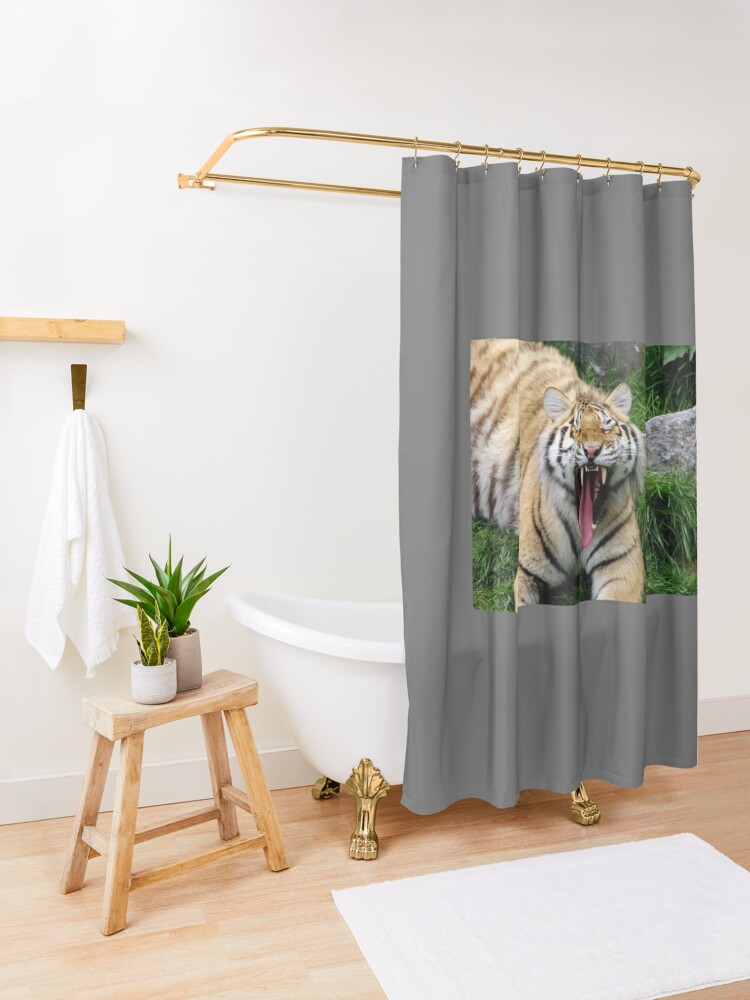 Alternate view of yawning tiger 1 Shower Curtain