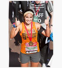 Laura Wright with her London Marathon medal Poster