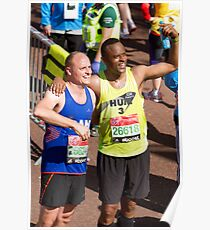 Humprey Nemar and Dan Charity with their London Marathon medals Poster