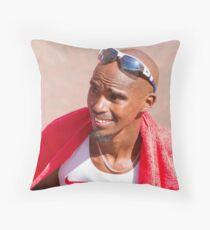 Mo Farah after finishing the London Marathon 2014 Throw Pillow