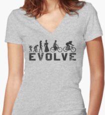 Bike Vintage Women's Evolution of Cycling Evolve Women's Fitted V-Neck T-Shirt