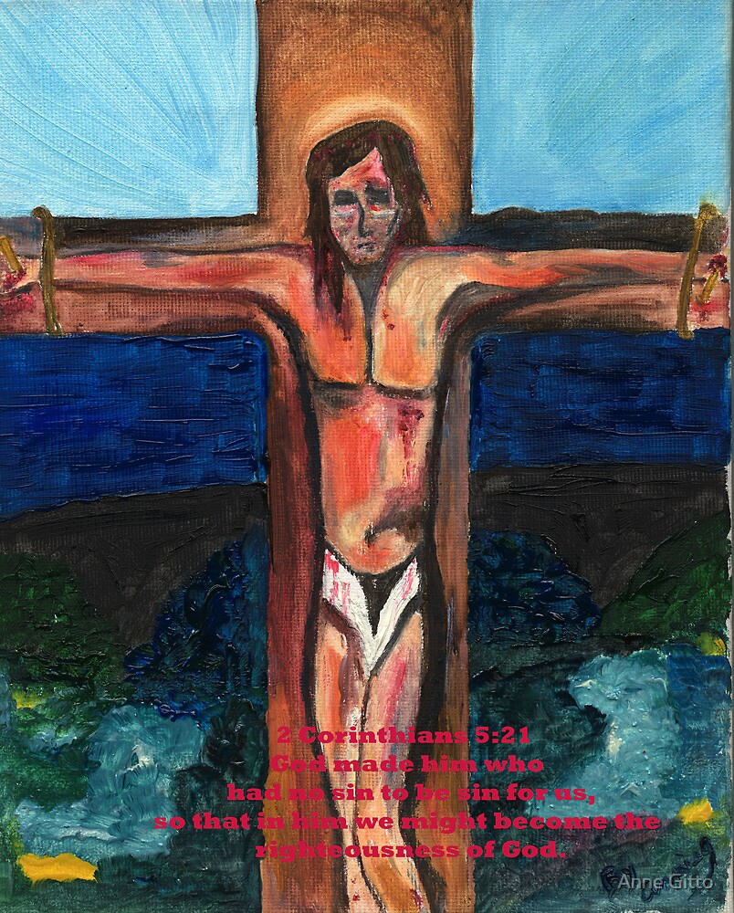 Christ on the Cross Card by Anne Gitto