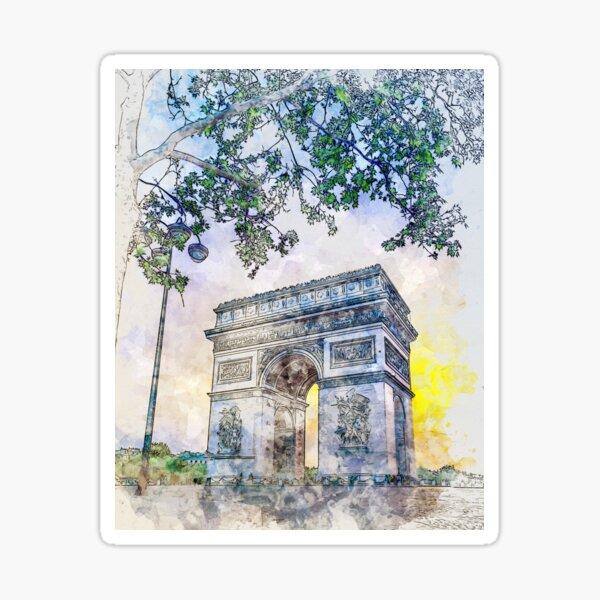 Arc de Triomphe!! Paris, France in Watercolor Sticker