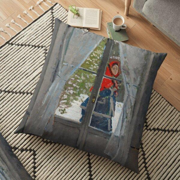 Claude Monet - The Red Cape Floor Pillow