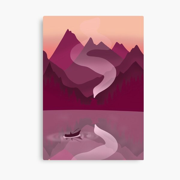 Canoeing in the Magenta Lake Canvas Print