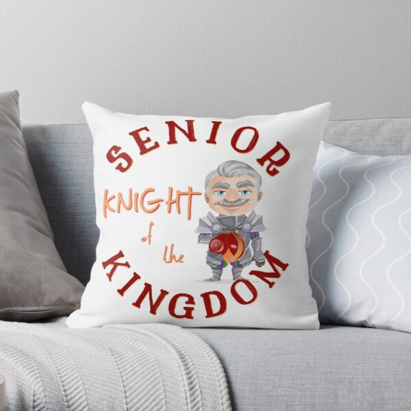 Kansas City Football Senior Knight Kingdom funny cartoon design Throw Pillow