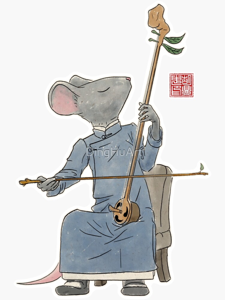 Mouse Playing Acorn Erhu by DingHuArt