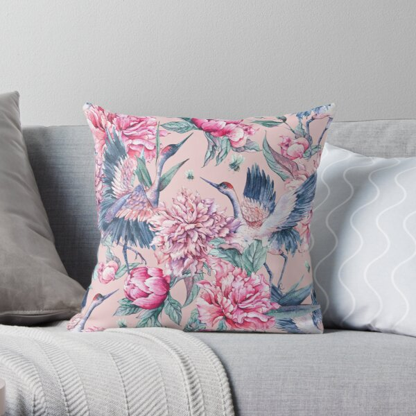 Pastel spring gardens Throw Pillow