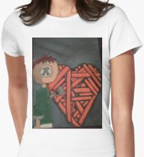knitted heart Women's Fitted T-Shirt