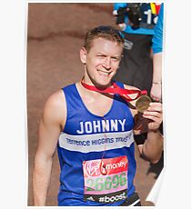Johnny Shaw with his London Marathon medal Poster