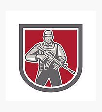 Soldier Serviceman With Assault Rifle Shield Photographic Print