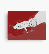 Two Cuddly Cats: Nap and Stare Canvas Print