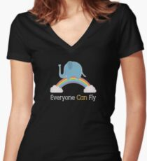 Everyone Can Fly Fitted V-Neck T-Shirt