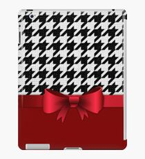 Black White Houndstooth Pattern Red Bow iPad Case/Skin