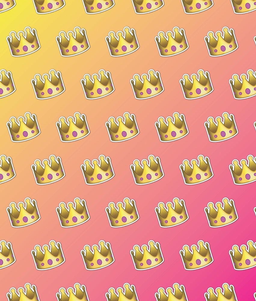 Crown Emoji Pattern Pink and Yellow by Lucy Lier