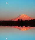 Vivid Sunset Reflections of Mt. Rainier by Tori Snow