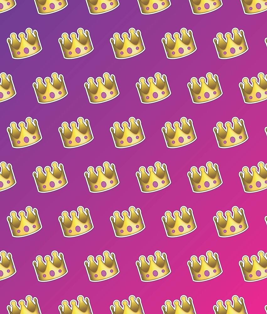 Crown Emoji Pattern Pink and Purple by Lucy Lier