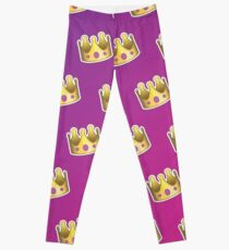 Crown Emoji Pattern Pink and Purple Leggings