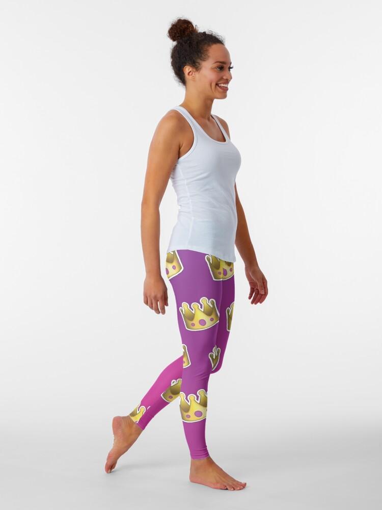 Alternate view of Crown Emoji Pattern Pink and Purple Leggings
