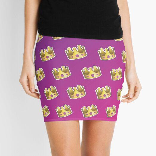 Crown Emoji Pattern Pink and Purple Mini Skirt