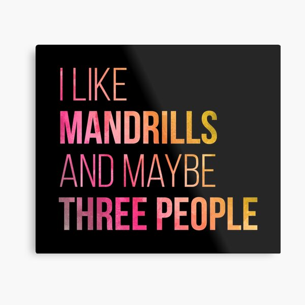 I Like Mandrills And Maybe Three People in Watercolor Metal Print