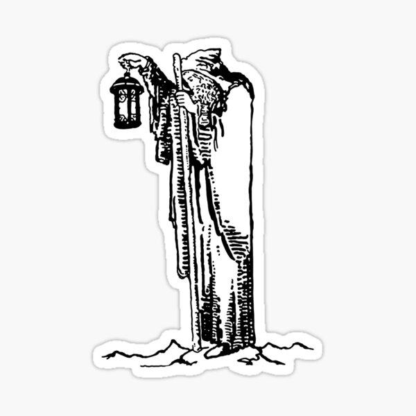 L'Ermite - Dessin au trait - Tarot Sticker