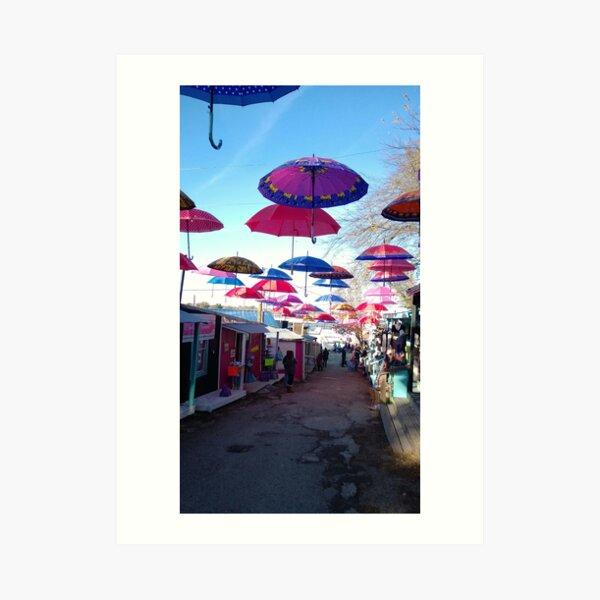 Umbrellas over Canton Art Print